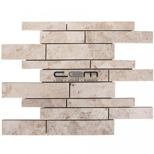 Cappuccino Marble Random Strip Polished Mosaic