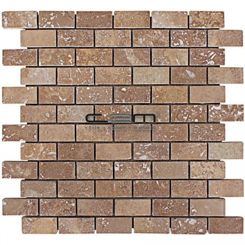 1x2 - 23mmx48mm Noche Travertine Filled Honed Mosaic