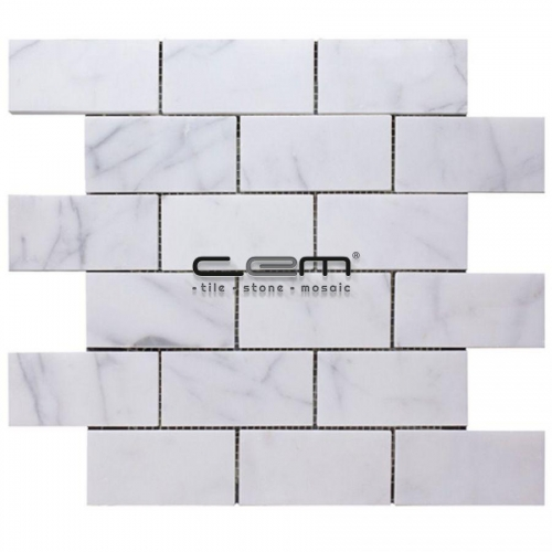 2x4 - 48mmx100mm White Bianco Carrara Polished Mosaic