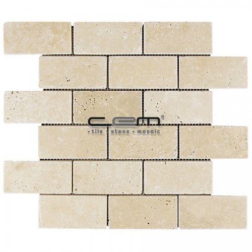 2x4 - 48mmx100mm Ivory Classic Travertine Tumbled Mosaic
