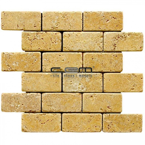 2x4 - 48mmx100mm Gold Yellow Travertine Tumbled Mosaic