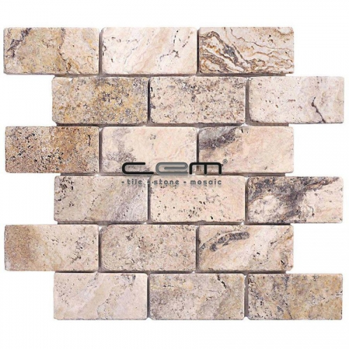 2x4 - 48mmx100mm Philadelphia Travertine Tumbled Mosaic