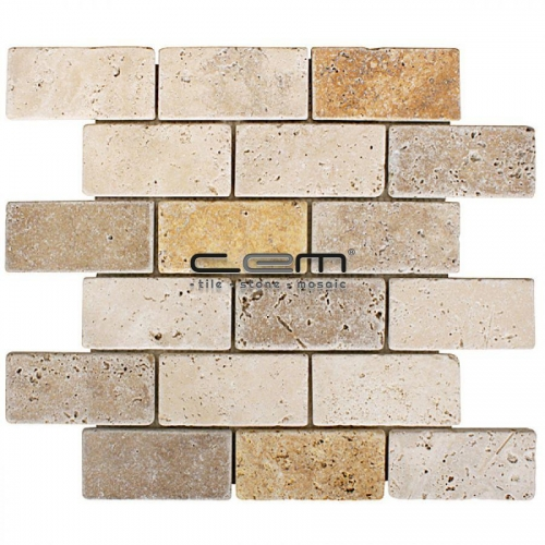 2x4 - 48mmx100mm Multicolor Blend Mix Travertine Tumbled Mosaic