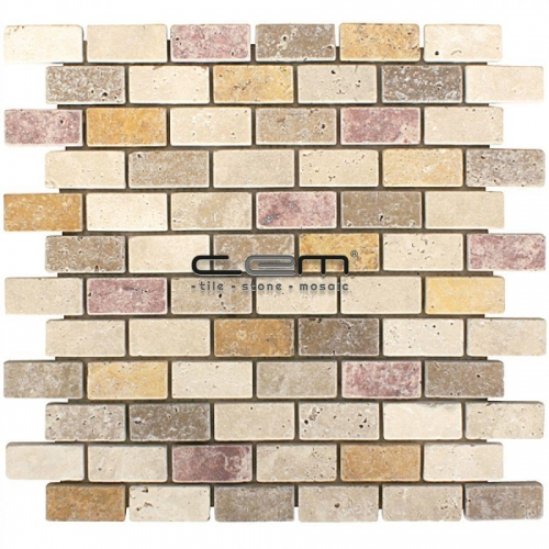 1x2 - 23mmx48mm Multicolor Blend Mix Travertine Tumbled Mosaic