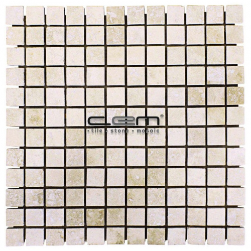 1x1 - 23mmx23mm Ivory Classic Travertine Filled Honed Mosaic