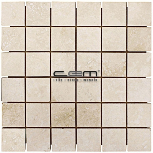 2x2 - 48mm48mm Ivory Classic Travertine Filled Honed Mosaic
