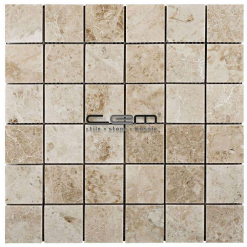 2x2 - 48mmx48mm Cappuccino Marble Polished Mosaic