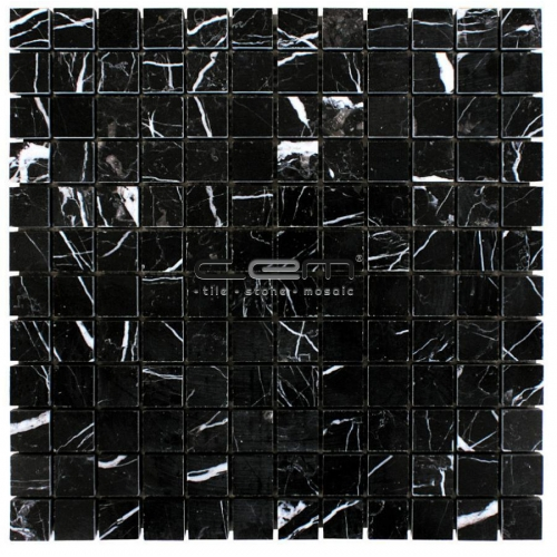 1x1 - 23mmx23mm Nero Marquina Taurus Black Marble Polished Mosaic
