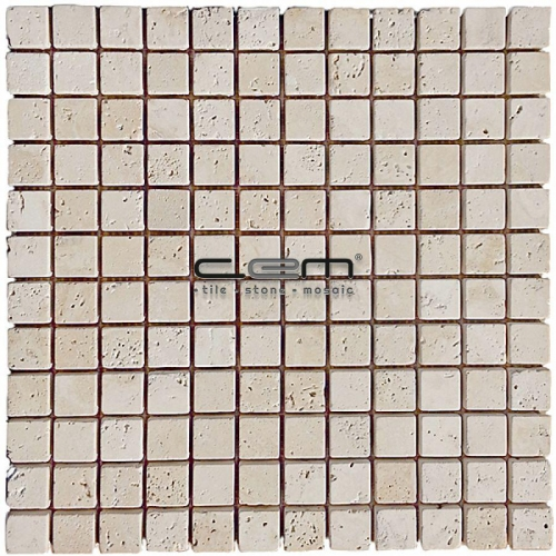 1x1 - 23mx23mm Ivory Classic Travertine Tumbled Mosaic