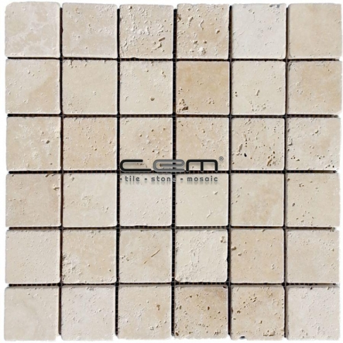 2x2 - 48mmx48mm Ivory Classic Travertine Tumbled Mosaic