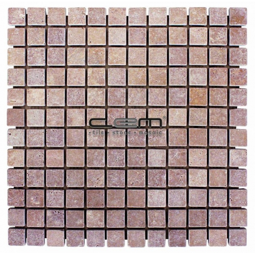 1x1 - 23mmx23mm Noche Travertine Tumbled Mosaic