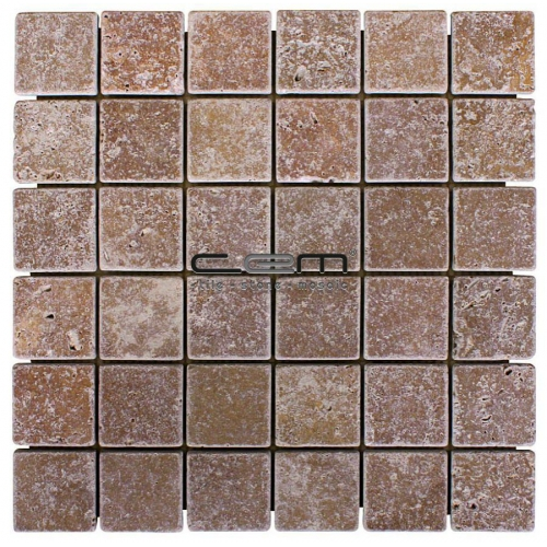 2x2 - 48mmx48mm Noche Travertine Tumbled Mosaic