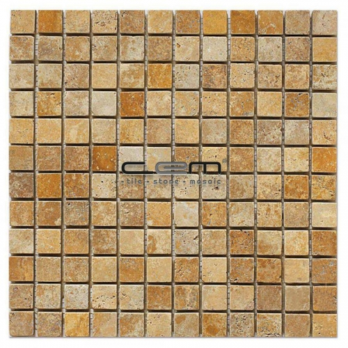 1x1 -23mmx23mm Gold Yellow Travertine Tumbled Mosaic