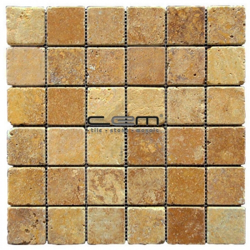 2x2 - 48mmx48mm Gold Yellow Travertine Tumbled Mosaic