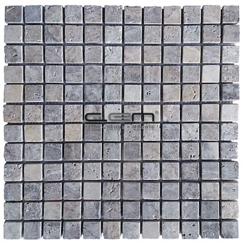 1x1 -23mmx23mm Silver Travertine Tumbled Mosaic