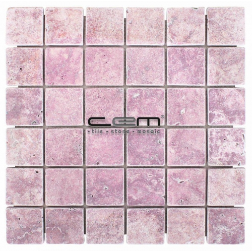 2x2 -48mmx48mm Pink Red Travertine Tumbled Mosaic