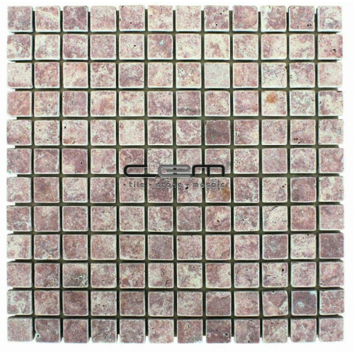 1x1 -23mmx23mm Pink Red Travertine Tumbled Mosaic