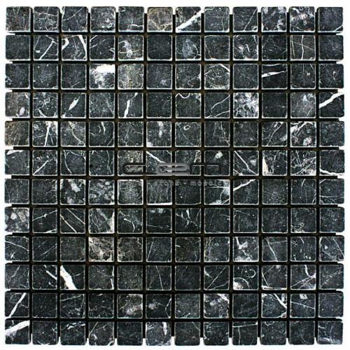 1x1 -23mmx23mm Nero Marquina Taurus Black Marble Tumbled Mosaic