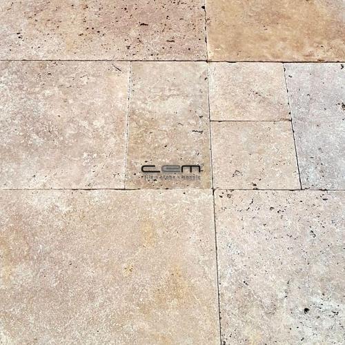 Walnut Travertine Tumbled Pattern Set Paver
